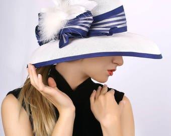 Derby hat, White widebrim hat, Summer sun hat, Kentucky derby hat, Wedding Party hat, Royal Ascot hat, Audrey Hepburn hat, elegant hat