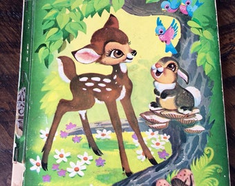 1949 WALT DISNEY'S BAMBI, Large Hardcover Big Golden Book, Full Color Bambi