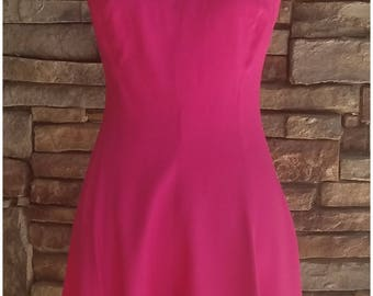 Hot pink romper with spaghetti straps and sweetheart neckline - medium