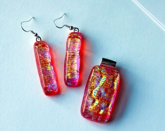 Glowing Red Jewelry Dichroic Glass Jewelry Set Fused Glass Pendant Sparkling Long Dangle Earrings Matching Glass Slide