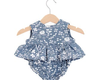 Floral Dark Blue Top & Bloomers Baby Girl Set