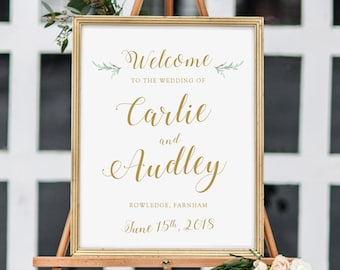 DIY wedding welcome sign, printable template, 18x24, 11x17, A3 & A2 sizes included. Word or Pages. Save as PDF for professional printing