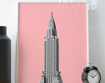 Chrysler Building print New York City poster NYC prints pink architecture posters New York City art printable travel poster pop art