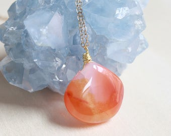 Carnelian Natural Stone Necklace, Gemstone Drop Necklace, Gold Wire Wrapped Jewelry, One of a Kind Raw Stone Jewelry, Gift for Bride