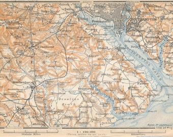1910 Southampton United Kingdom (Great Britain) Antique map