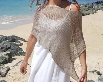 Biscuit knit boho poncho shawl, biscuit summer shawl, summer cover up, bohemian poncho, 6 colours available.