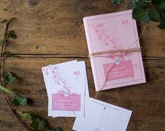 2 botanical notebooks and 5 botanical postcards - Hedera Helix Stationery set