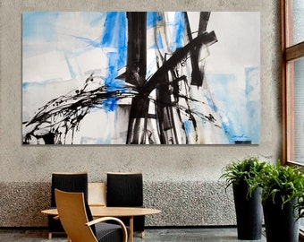 Abstract painting Black White Blue moderne Art and Collectibles. Dimensions: 76.8 x 44.8  inches  (195 x 114 cm)
