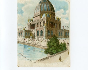 1893 Columbian Exposition Victorian Trade Card Administration Building Advertising Whitcombe & Payne Kip and Calf Boots Thing Co - 7920Pa
