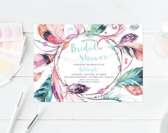 Bridal Shower Invitation, Bridal Shower Invite, Boho Bridal Shower Invitation, Vintage Bridal Shower Invitation, Boho Invites, Feather [467]