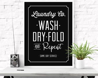 Laundry co sign, Wash dry fold repeat, Laundry room art, Home decor, Farmhouse decor, Laundry decor, Laundry room sign, Printable print