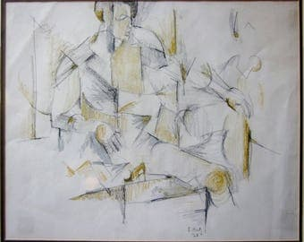"""Sonia Katz """"Argentinian"""" Cubism in Pencil and Pastel Modern art cubist drawing 1968"""