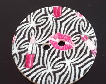 1pc Pink Lipstick Buttons - Lips Button - 30mm Buttons - Pink And Black Buttons - Sewing Buttons - Fashion Buttons - Beauty Buttons - B65063