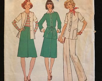 Simplicity 7392 - 1970s Unlined Jacket, Skirt, and Pants - Size 14 Bust 36