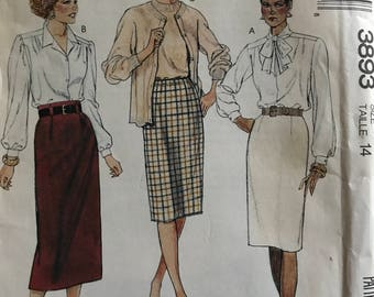 McCalls 3893 - 1980s Slim Skirt in Knee or Midi Length with Pocket and Belt Carrier Options - Size 14 Waist 28 Hip 38