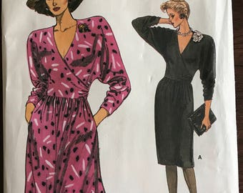 Vogue 9458 - 1980s Surplice Bodice Dress with Flared or Straight Below Knee Skirt - Size 14