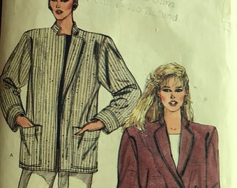 Vogue 8611 - 1980s era Boxy, Below Hip ackets with Standing Collar - Size 8 10 12