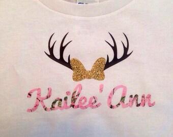 Camo Antler Shirt, Girls Top, Personalized Shirt, Camo Vinyl, Country Girl Shirt, Toddler Girl Shirt