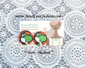 Yoshi dinosaur Mario fabric cover button earrings