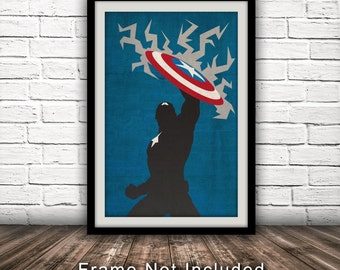 Marvel's The Avengers - Captain America Inspired Poster - Fan Art, Minimalist