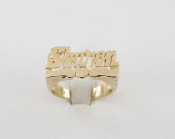 14K Yellow Gold Sharon Name Ring Size 7 - Hand Crafted Name Ring