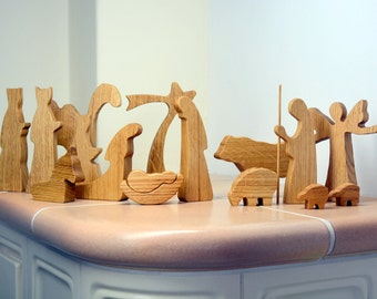 Wooden nativity set - OAK WOOD - Nativity scene - Wood nativity - Modern nativity set