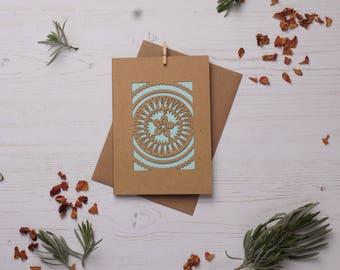 Mandala pattern card 1, Paper cut card, Greetings card, Colourful card, Mandala card, Pattern card FREE P&P