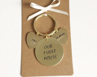 Our First House or Home Keyring. Personalised Hand Stamped, New Home Gift