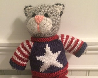 """Knitted Stuffed """"Chester A. Kitty"""""""