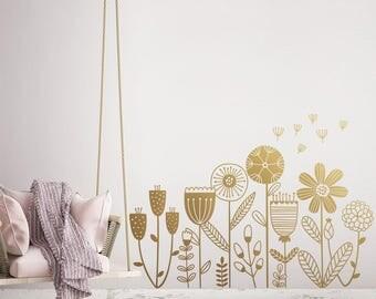 Flower Garden Wall Decal - Flower Decals, Dandelion Decal, Girls Room Decals, Girls Nursery Decals, Flower Stickers, Flowers Wall Decor