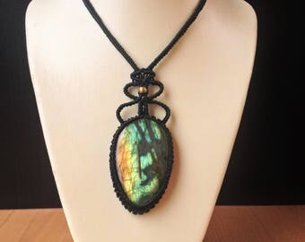 Macramé with Labradorite necklace / Labradorite macrame necklace