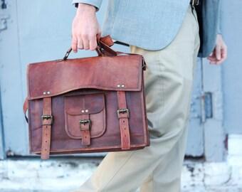 Custom Men's Leather Messenger Bag