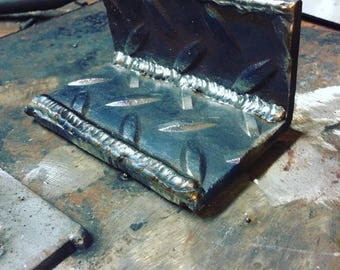 Steel Diamond Plate Business Card Holder