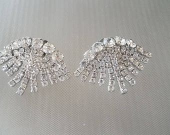 Vintage 1950's Rhinestone Jeweled Collar Tips Dress Clips Jewelry