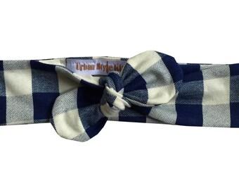 Navy Cream Plaid Headband, Baby Girl Headband, Knot Headband, Newborn Headband, Plaid Knit Knot Headband, Baby Headband, Adult Headband