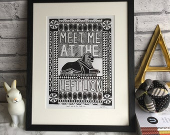 Screen printed left lion poster, Nottingham, meet me at the left lion, wall art, illustration, graphic print