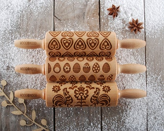 EASTER MIX - set of 3 MINI embossed, engraved rolling pin for cookies - perfect gift idea