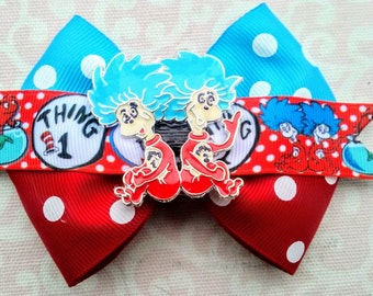 Preorder Thing One and Thing Two, Dr. Suess' Cat in the Cat Hair Bow, Custom Ribbon with Custom Embellishment, Christmas Gift, Birthday Gift
