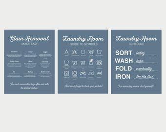 Blue Laundry Prints, Laundry Symbols, Laundry Schedule Print, Stain Removal Print, Laundry Signs, Set of Three Laundry Room Prints