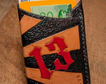 Lucky 13 handmade leather card sleeve, hand-tooled card case, card holder, leather card case.