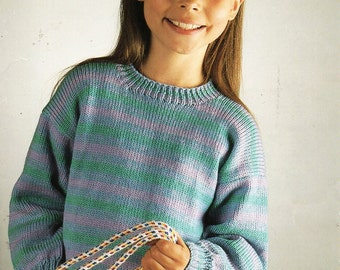 "childrens striped sweater knitting pattern PDF round neck jumper 24-32"" DK light worsted 8ply Instant Download"
