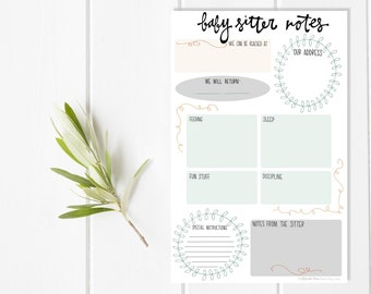 Baby Sitter Notepad ~ Babysitter Directions ~ Childcare Nanny Notes ~ Present for new mom sister wife ~ Date night gift basket ~ Baby shower