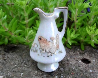 Miniature Pitcher Opalescent Gold Trim Glass Bead Squirrel and Flowers Dollhouse