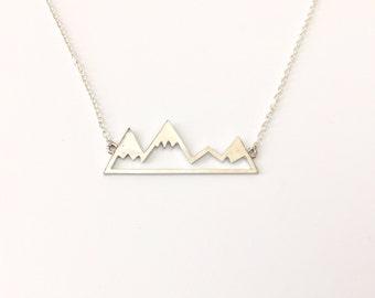 Mountain Necklace, Mountain Range, Mountain Top Necklace, Mountain Jewelry, Skiing Snowboarding Necklace, Winter, Four Peaks Mountains