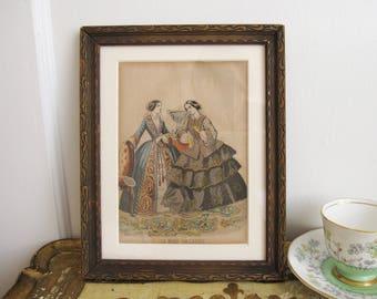 Vintage Framed Fashion Illustration Les Modes Parisiennes Engraving Paris France French Paper Ephemera