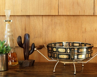 Mid-Century Serving Bowl with Metal Stand