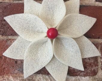 SET OF THREE Felt Christmas Ornament, Christmas Flower Ornament, Felt Poinsettia, Christmas Ornament, Poinsettia Ornament, Flower Ornament