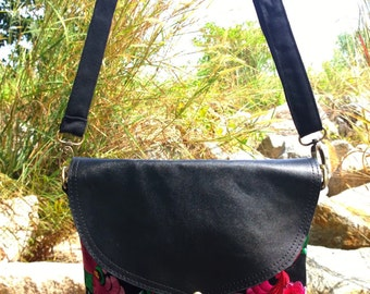 Leather Black Boho Floral Bag - Embroidery Bag - Hmong Crossbody Bag - Bohemian Bag    ( FREE SHIPPING WORLDWIDE )