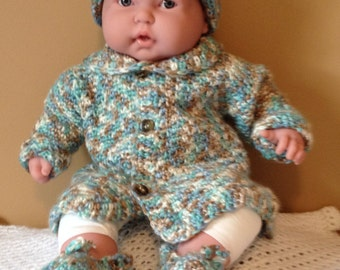 Baby sweater, cap,  and booties set