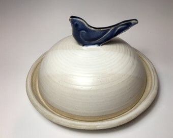 Pottery Butter Dish, White, Stoneware, Indigo Blue Bird Handle
